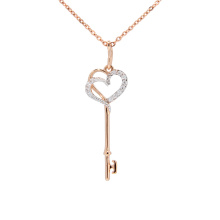 CZ 'Key to Hearts' Pendant. 585 (14K) Hypoallergenic Rose Gold