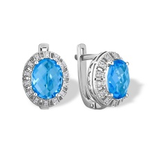 Blue Topaz and Diamond Earrings. Hypoallergenic 585 (14K) White Gold