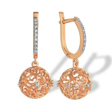 Sphere-shaped Openwork Dangle Earrings. 585 (14K) Rose Gold
