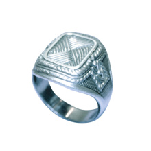 Art-Deco Men's Niello Silver Signet Ring