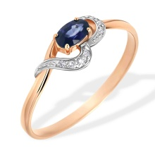 Oval Sapphire and Diamond Ring. 585 (14kt) Rose Gold, Rhodium Detailing