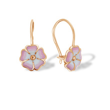 "Enamel ""Peony Flower"" Children's Earrings"