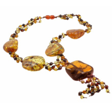 Knitted Amber Necklace With Gargantuan Central Piece
