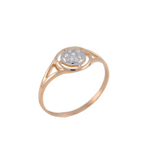 CZ Rose Gold Ring. 585 (14K) Rose Gold