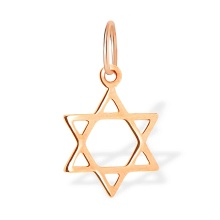 Star of David Gold Pendant. 585 (14kt) Rose Gold