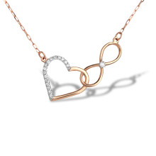 Diamond Heart & Infinity Adjustable Necklace. 585 (14K) Hypoallergenic Rose Gold