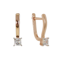 Princess Cut CZ Rose Gold Earrings