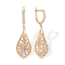 CZ Dimensional Drop Earrings. 585 (14K) Rose Gold