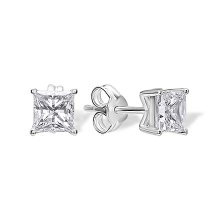 Princess-Cut CZ Stud Earrings. Nickel Free 585 White Gold, Friction Backs