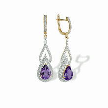 Teardrop Amethyst and CZ Earrings. 'Empress' Series