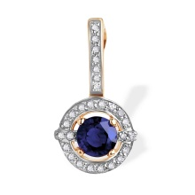 Sapphire with Diamond Halo Pendant. 585 (14kt) Rose Gold, Rhodium Detailing