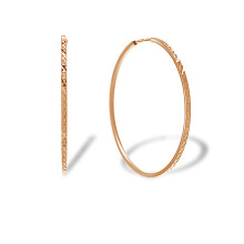 Diamond Cut Rose Gold Hoop Earrings