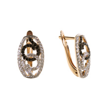 Black and White CZ Leverback Earrings