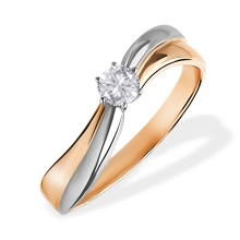 Diamond Crisscross Engagement Ring. 585 (14kt) Rose and White Gold