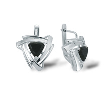 Black Onyx Silver Triangle Earrings