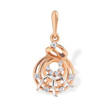CZ Whimsical Pendant. 585 (14kt) Rose Gold