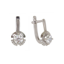 Swarovski CZ Leverback Earrings. Hypoallergenic 585 (14K) White Gold