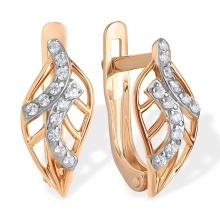 CZ Leaf-shape Earrings. 585 (14kt) Rose Gold, Rhodium Detailing