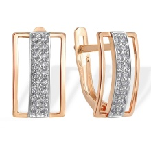 Micro-Pavé CZ Earrings. 585 (14kt) Rose Gold, Rhodium Detailing