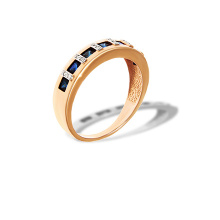 Channel-set Sapphire and Diamond Ring. 585 (14kt) Rose Gold, Rhodium Detailing