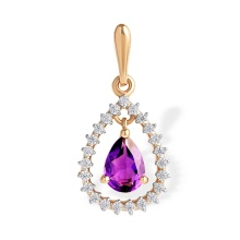 Droplet-shaped Amethyst and CZ  Pendant