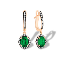 Art Deco Style Emerald and Diamond Earrings. 750 Rose Gold, KARATOFF Series