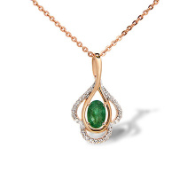 Emerald and Diamond Drop Pendant