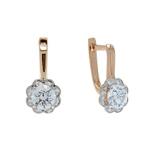 Floral Motif CZ Halo Earrings