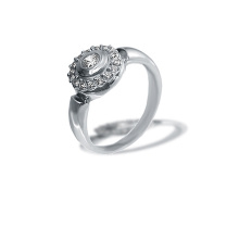 Diamond Halo Ring. Palladium White Gold