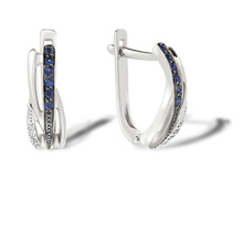 Sapphire and Diamond Huggie Earrings. 585 (14K) White Gold