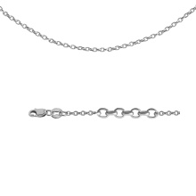 Diamond-cut Rolo-link Chain. 585 (14kt) Hollow White Gold, Rhodium Plating