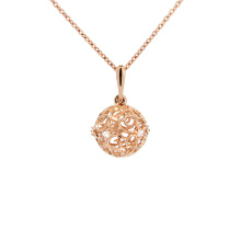 Sphere-shaped Openwork Pendant. Hypoallergenic 585 (14K) Rose Gold
