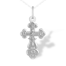 Orthodox Silver Trefoil Crucifix. 925 Silver with Rhodium Plating