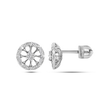 Diamond Water Hyacinth Flower Studs. Hypoallergenic 585 White Gold, Screw Backs