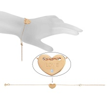 CZ Heart Adjustable Bracelet. 585 (14kt) Rose Gold