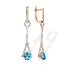 Eiffel Tower-inspired Earrings. Blue Topaz and Diamonds