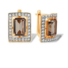 Baguette Smoky Quartz and Diamond Earrings. 585 (14kt) Rose and White Gold