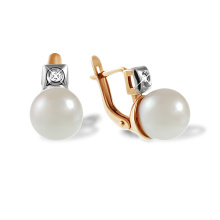 White Pearl and Diamond Leverback Earrings