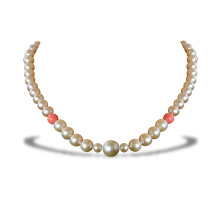 Graduated Peach Pearl Necklace
