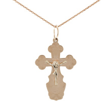 Slavic Cross Pendant. Body Gold Crucifix