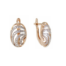 CZ Two-tone Ribbon Earrings