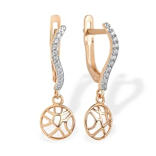 Coquettish CZ Dangle Earrings. 585 (14kt) Rose Gold