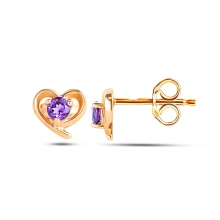 Amethyst Heart Stud Earrings. Hypoallergenic 585 Rose Gold, Friction Backs