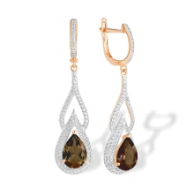 Teardrop Rauh Topaz and CZ Earrings. 585 (14kt) Rose Gold, Rhodium Detailing