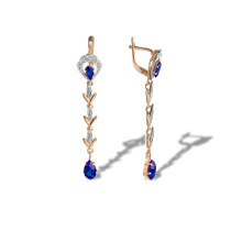 Faux Sapphire Vintage Style Dangle Earrings. 585 (14kt) Rose and White Gold