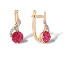 "Ruby ""Flower of Life"" Diamond Earrings. 585 (14kt) Rose Gold"