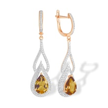 Teardrop Citrine and CZ Earrings. 585 (14kt) Rose Gold, Rhodium Detailing