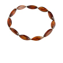 Baltic Amber Stretch Bracelet. Amber Marquise-links with Silver Spacers