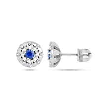 'Lights of Paris' Sapphire and Diamond Studs. 585 (14K) White Gold, Screw Backs
