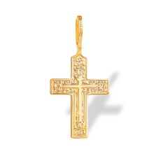 Let God Arise Prayer Russian Cross. 585 (14K) Rose Gold